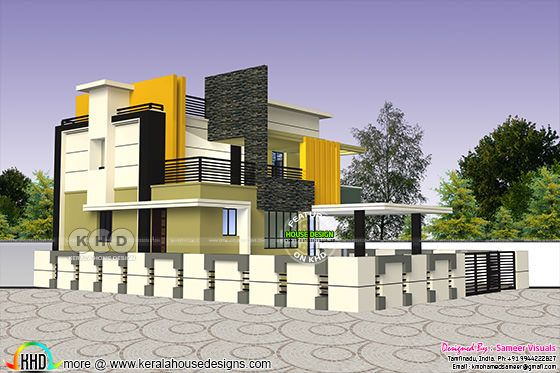 Contemporary style 3 bedroom Tamilnadu home design