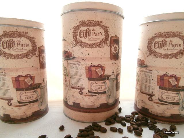 decoupage na puszkach -motyw z kawą