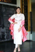 Mannara Chopra in Silky White Salwar Suit with Pink Chunni Latest Exclusive Pics March 2017 ~  033.JPG