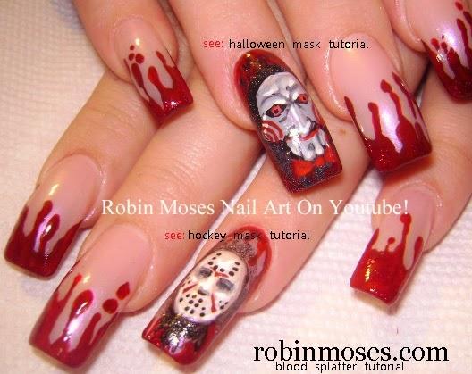 Nail Art By Robin Moses Scary Nail Art Halloween Nails Scary