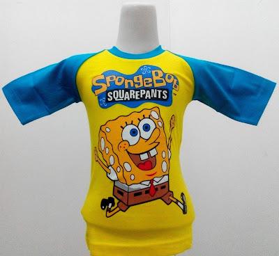 Kaos Raglan Anak Karakter Sponge Bob Squarepants Kuning