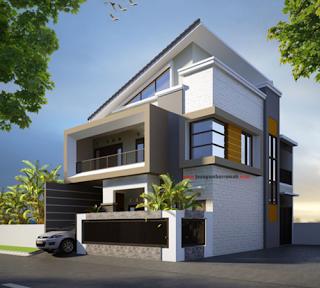 desain rumah sudut minimalis