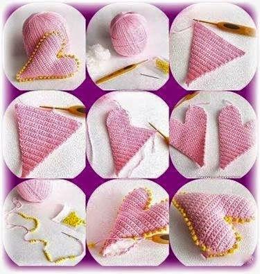 Tutorial: corazón tiernito de amigurumi | Corazones tejidos a ... | 395x375