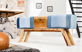 Luxusná lavica z rifloviny.
