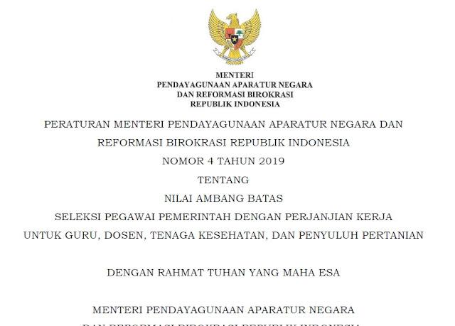 Download Juknis Passing Grade Kelulusan Seleksi P3K 2019 Nomor 4 Tahun 2019 Pdf