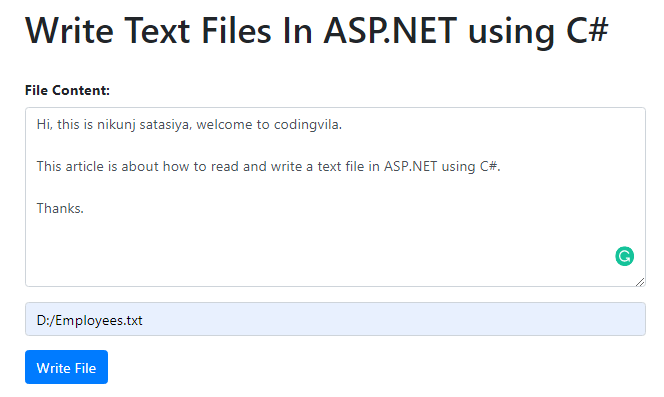Write Text Files In ASP.NET using C#