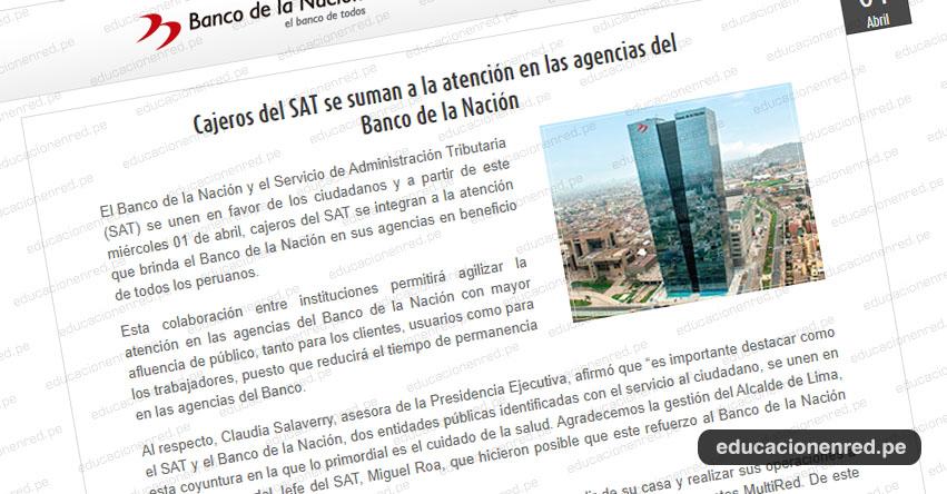 BN: Cajeros del SAT se suman a la atención en las agencias del Banco de la Nación - www.bn.com.pe