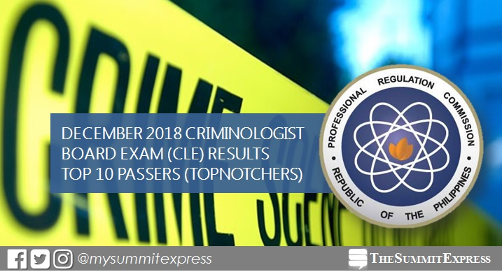 TOP 10 PASSERS: December 2018 Criminologist board exam CLE result