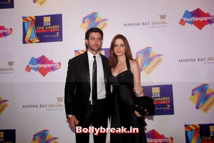 Hrithik Roshan with  ex wife Sussanne. How times change!, Zee Cine Awards 2011-2013 Pics