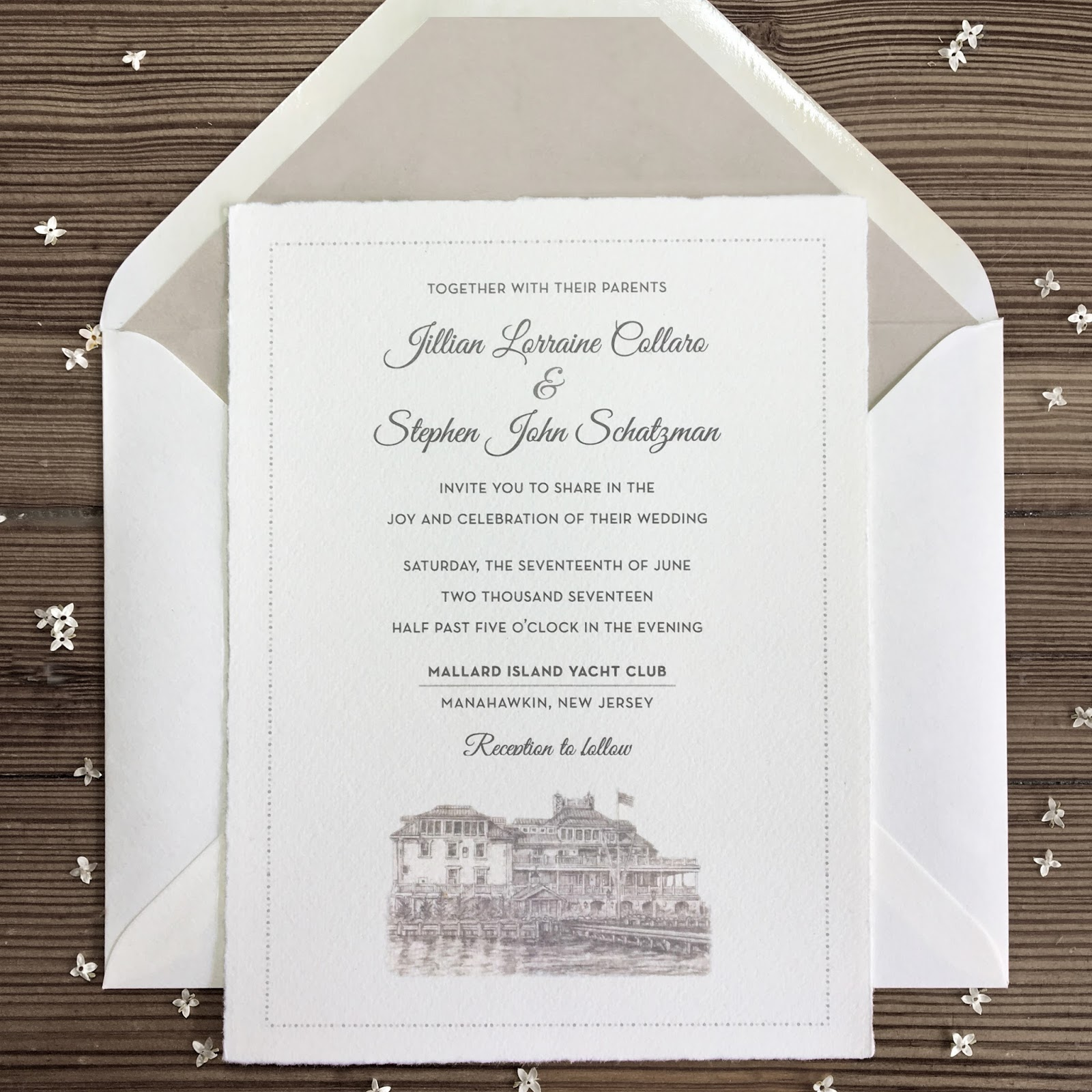 Invitations ink social design studio jillian and steves mallard jillian and steves mallard island yacht club nuptials stopboris Choice Image