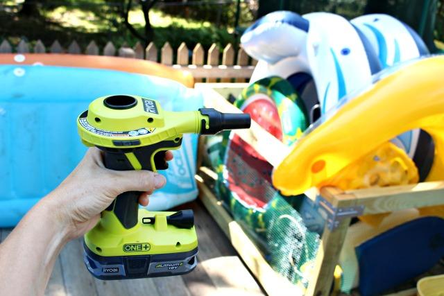 ryobi inflator with pool toys