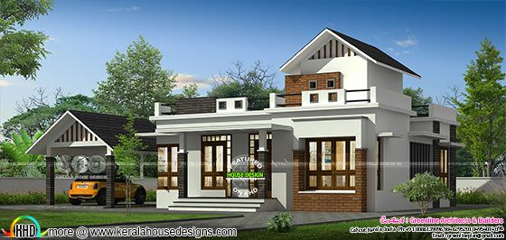 Single floor house with separate car porch