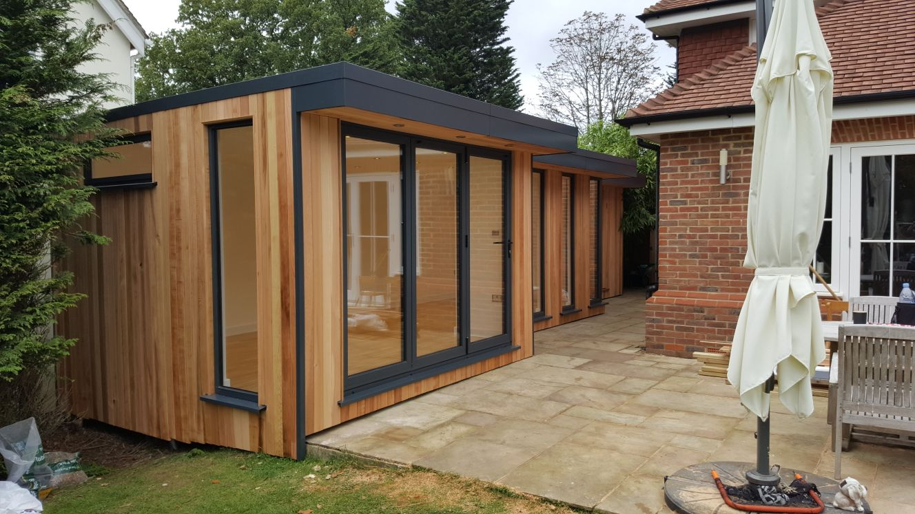This Intriguing Double L Shaped Office Was Designed And Built By EDEN Garden Rooms Down The Side Of A Home In Reigate