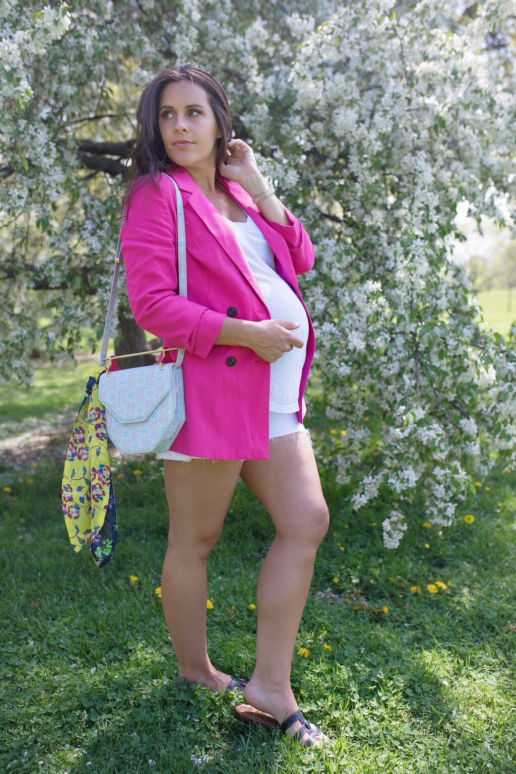 how to style a bright pink blazer