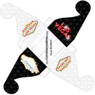 Caja para Cupcakes o Golosinas de Fiesta de Las Vegas para Imprimir Gratis.