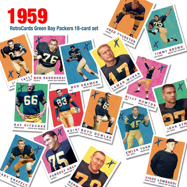 1959 Topps football cards, custom cards, Packers Dynasty