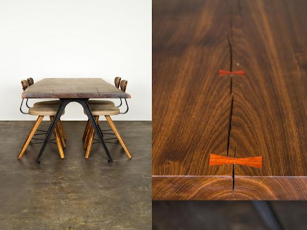 York煙燻橡木鑄鐵工作桌