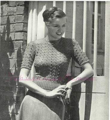 The Vintage Pattern Files: Free 1940's Knitting Pattern - Pamela Textured Jumper