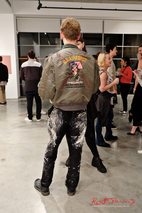 Paint splattered jeans, crossed out - US Airforce Bomber jacket - Street Fashion Sydney by Kent Johnson.
