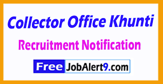 Collector Office Khunti Recruitment Notification