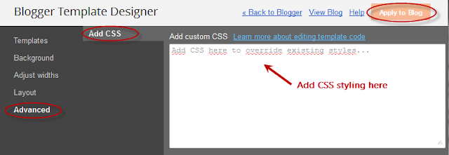 add css blogger template designer mode