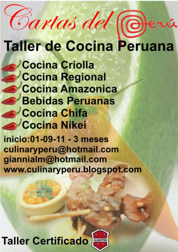 CULINARY PERU TALLER DE COCINA PERUANA CARTAS DEL PERU