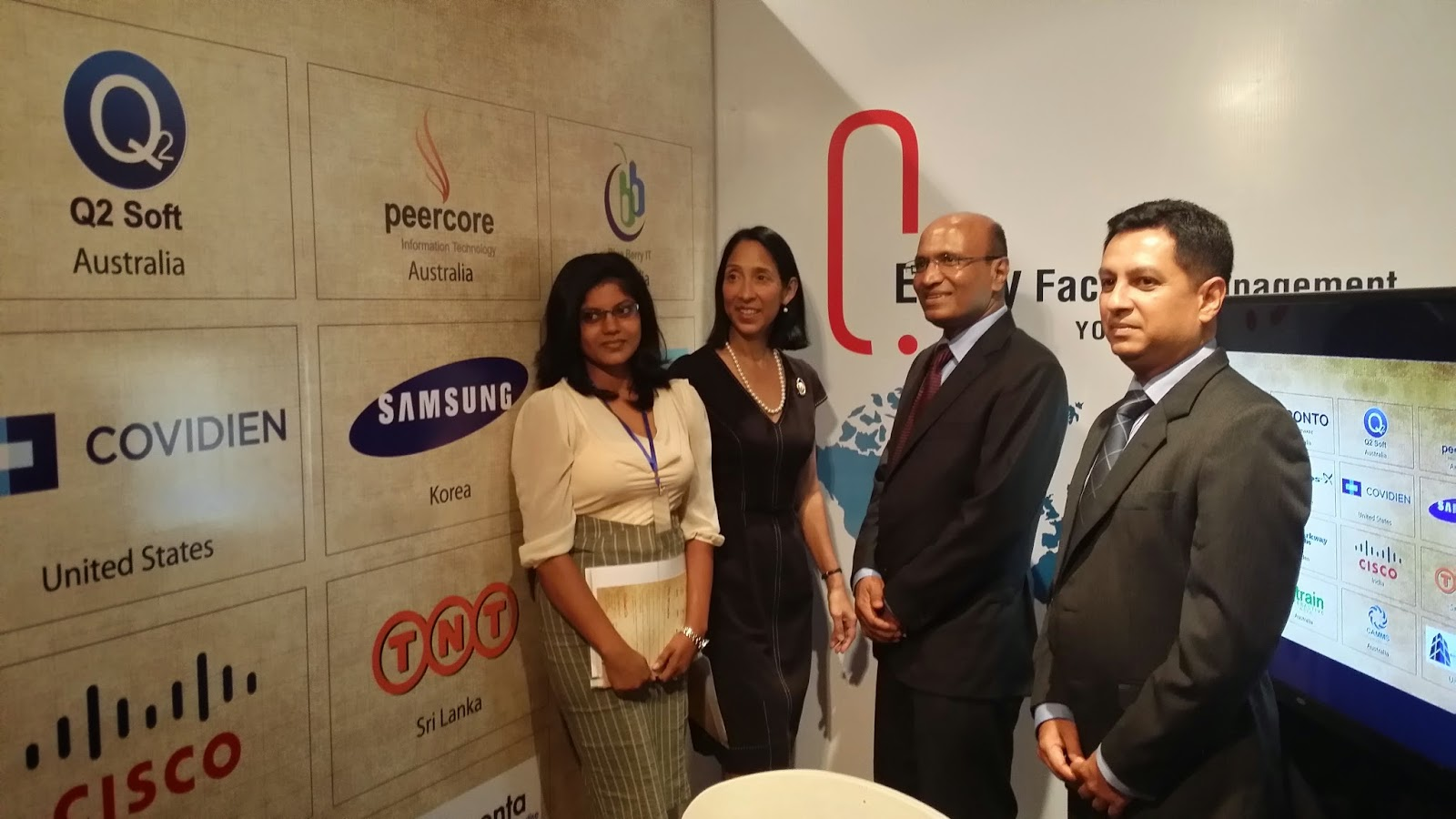 Envoy Facility Management Services Pvt. Ltd CEO Mr. Omer Fareed (third from left) with Ms Michele J Sison, US Ambassador in Sri Lanka (second from left), Mr Warren Mills the Group HR Manager and Ms Fahmida Mohamed, Business Development Executive at Envoy Facility Management Services Pvt. Ltd.