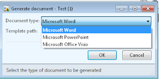Dialog box to generate a document in Word, PowerPoint, or Visio