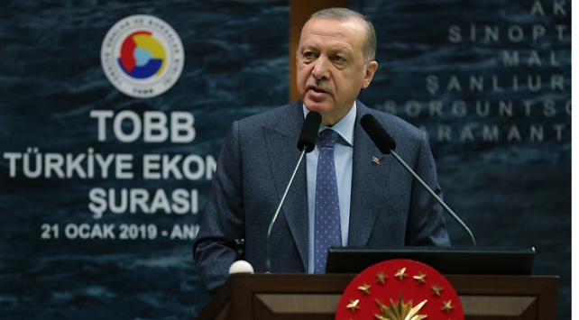 Recep Tayyip Erdoğan, TOBB İkiz Kuleler Konferans Salonu'nda konuştu