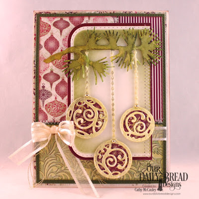 Our Daily Bread Designs Paper Collections: Christmas 2015, Coordinating Christmas 2015, Custom Dies: Ornament Branch, Pierced Rectangles, Rounded Rectangles, Double Stitched Rounded Rectangles