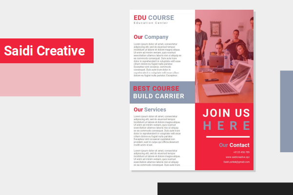 Education Courses Flyer Template Free Download on MS. Word File