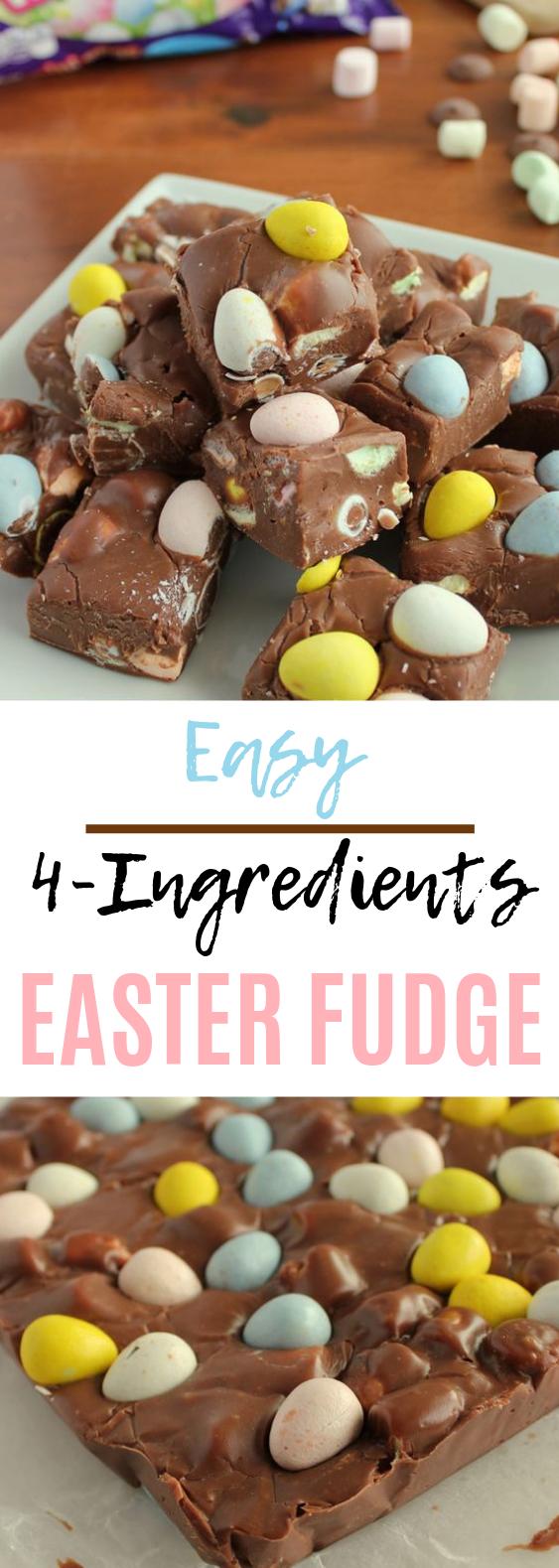 4-ingredient Easter Fudge #chocolate #dessert