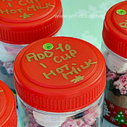 Adorable Single Serve containers with everything you need for a quick drink [just add to hot milk!] Great as gifts for school friends, colleagues or to pop into your handbag #Christmas #EdibleGifts #PartyFavors