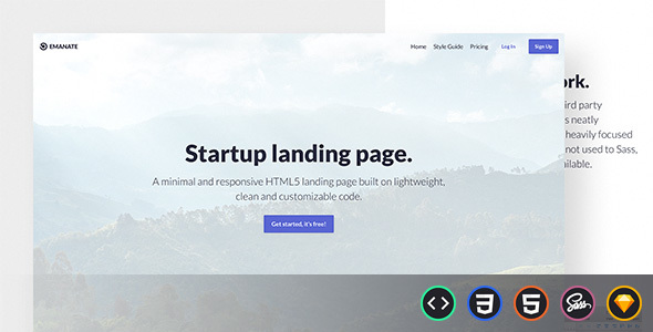 startup  page HTML template