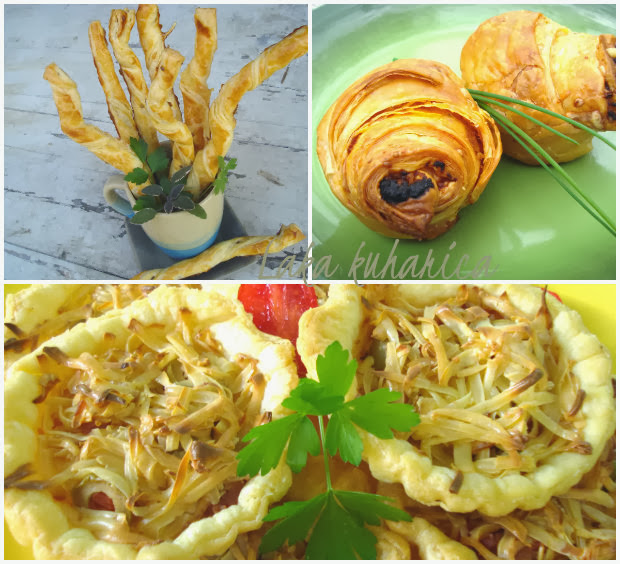 Savory puff pastry bites by Laka kuharica: flaky, tasty, savory puff pastry bites easy to make.