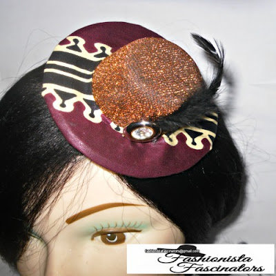 Buy Gold and Maroon African Print Micro Mini Fascinator Hat Nairobi Kenya