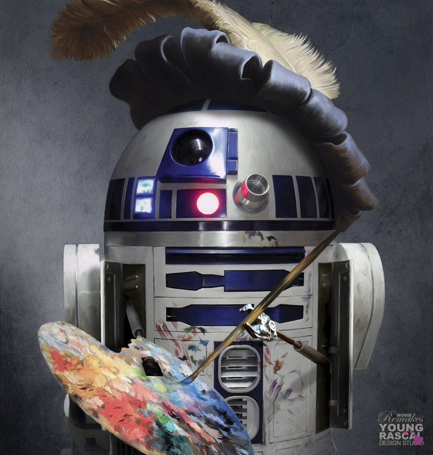 06-R2-D2-Star-Wars-Self Portrait-Richard-Kingston-Old-Masters-Paintings-with-a-Science-fiction-Twist-www-designstack-co