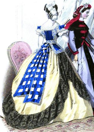 White taffeta en tablier dress from La Moniteur de la Mode, 1864.