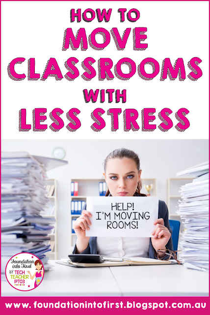 How to move classrooms with less stress. 5 easy steps teachers can take to help them with end of year classroom pack up and tidy.  #foundationintofirst #teachers #endofyear #classroom