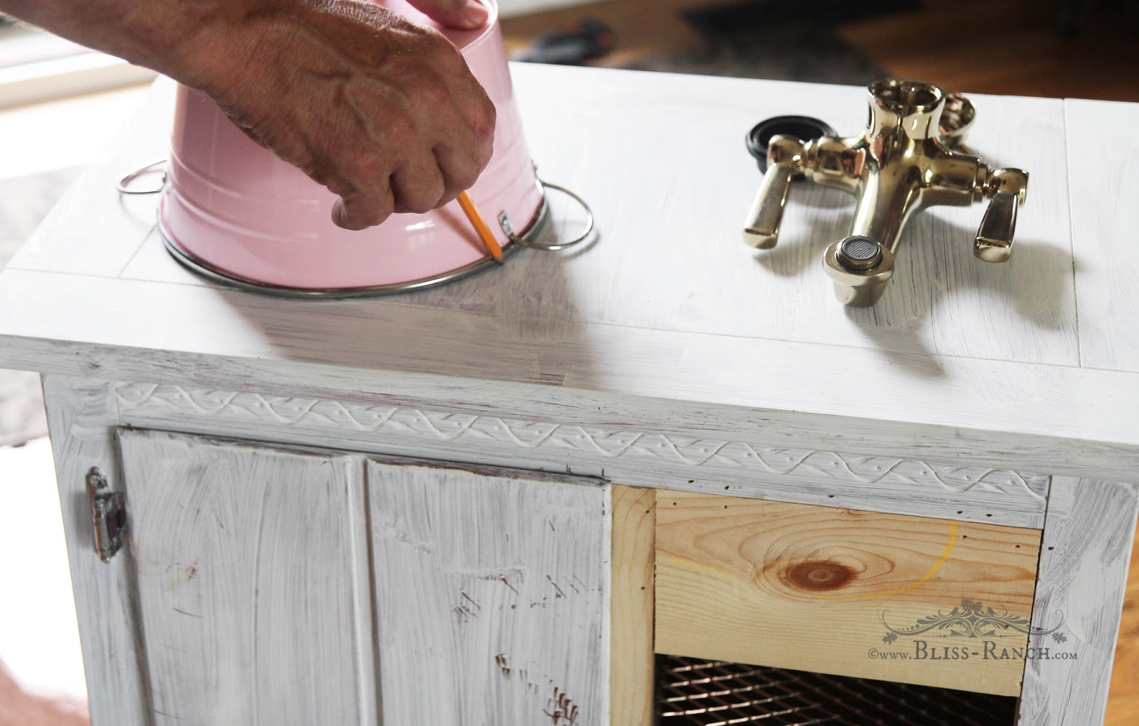 Upcycled Nightstand to Play Kitchen Bliss-Ranch.com #playkitchen