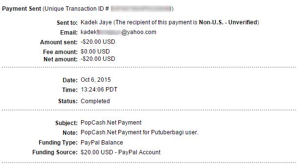Pembayaran Popcash 6 Oktober 2015