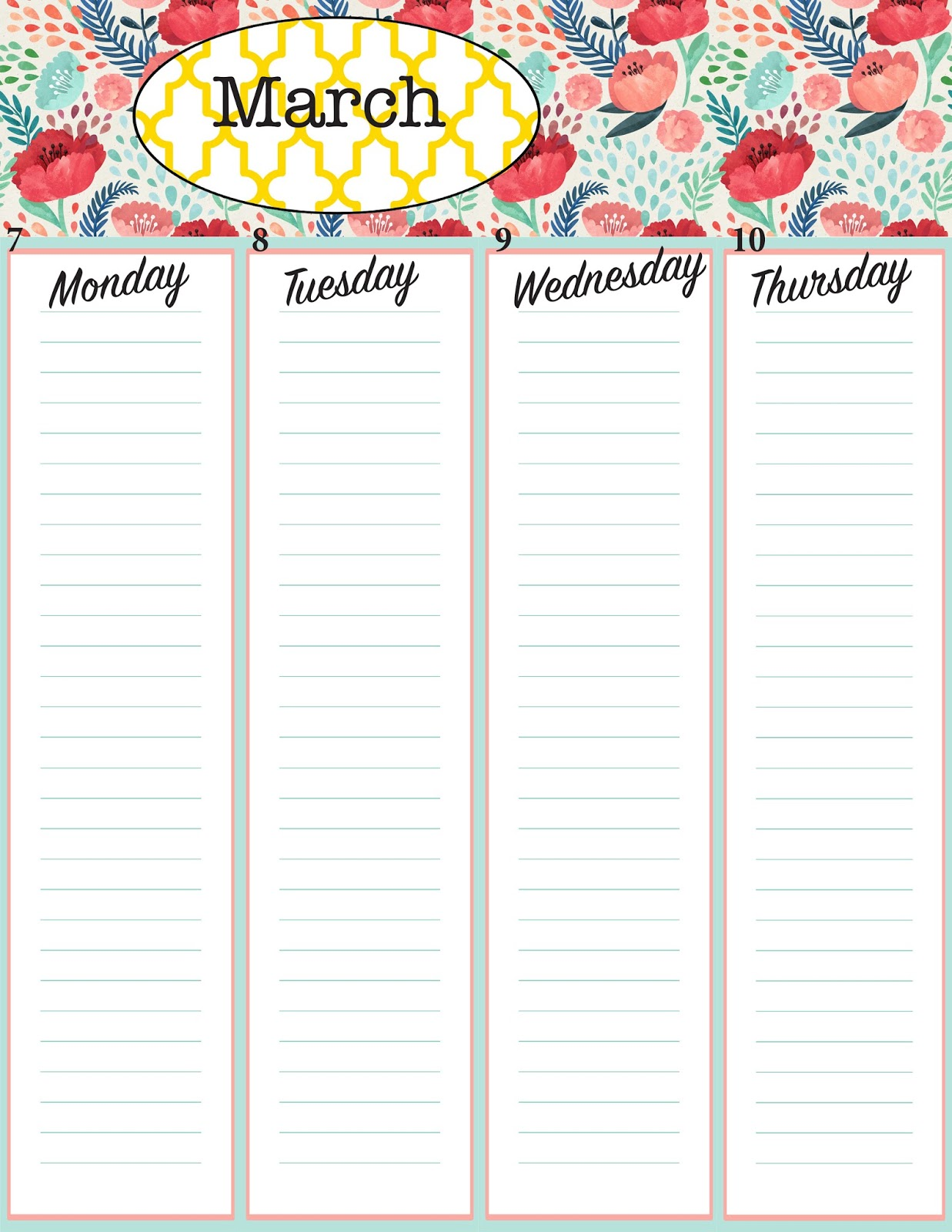 The Rustic Redhead Monthly Calendar Printables