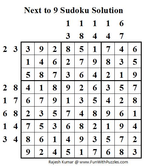 Next to 9 Sudoku (Daily Sudoku League #53) Solution