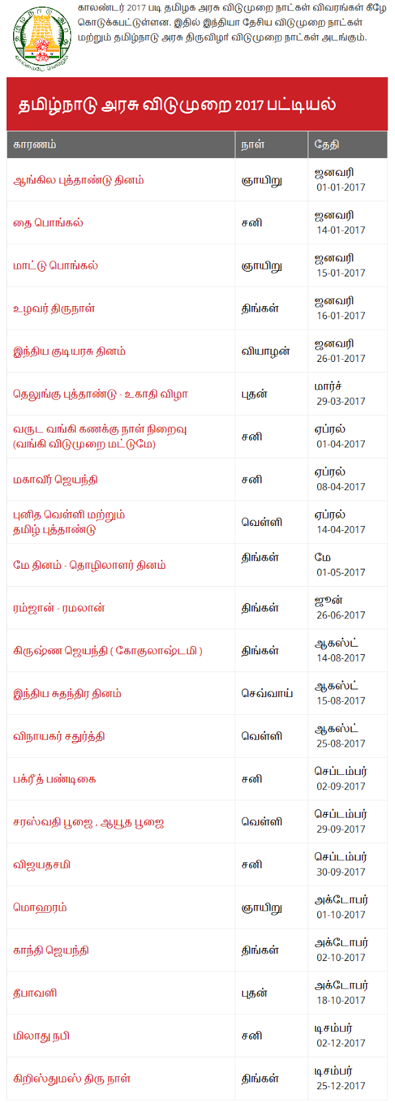 Tamil Nadu Government holidays 2017 List