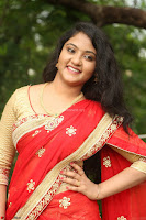 Akshara in Red Saree Golden Choli at LV Movie Makers Production No 1 Movie Opening ~  Exclusive 041.JPG