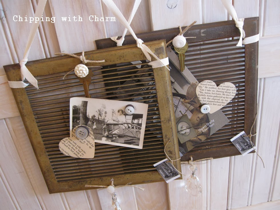 Chipping with Charm:  vent cover photo holder...http://www.chippingwithcharm.blogspot.com/