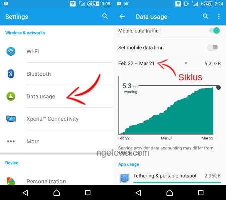 Pilihan statistik penggunaan data di android