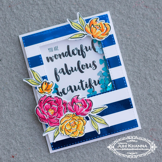 You are fabulous shaker card with blue bold striped background. #honeybeestamps #wplu9