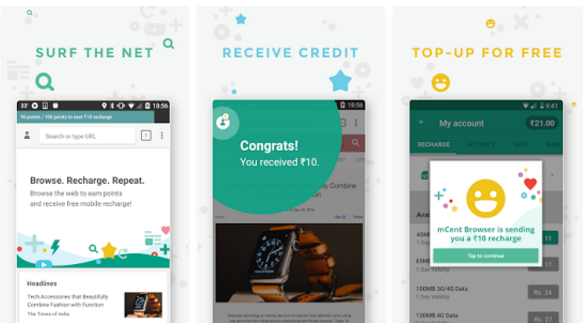 mCent Browser Free Recharge Apps, Browse and get paid
