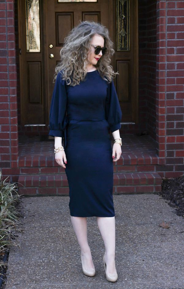 SheIn-Puff-Sleeve-Belt-Chiffon-Slim-Dress